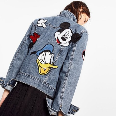 6e8fe002 @esaddington. 10 months ago. Leicester, United Kingdom. Rare Zara x Disney  denim jacket. Embroidered patches on back and front - Mickey Mouse ...