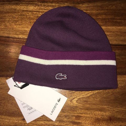 05019b6803a Lacoste purple stripe beanie! Brand new with tags. RRP as - Depop