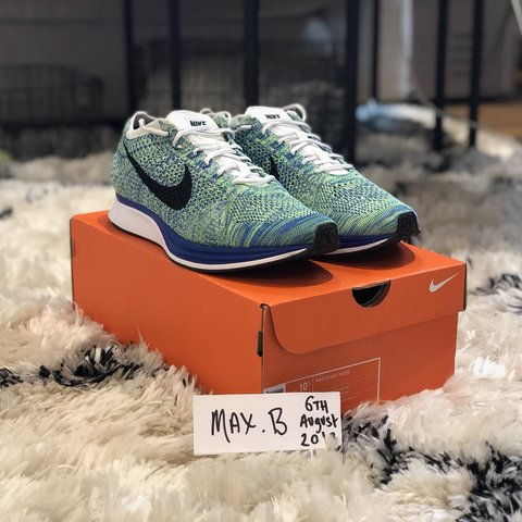 943cb056ee40e NIKE FLYKNIT RACER TRANQUIL CONDITION  9 10 SIZE  UK 9.5   - Depop