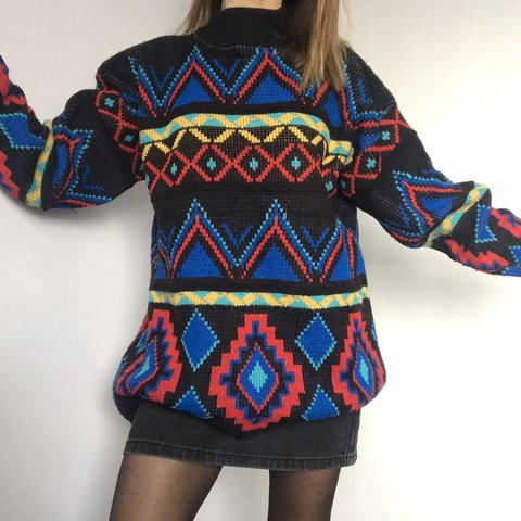 527ca2129be2 Prettiest Vintage colourful 80s patterned jumper. Size S on - Depop
