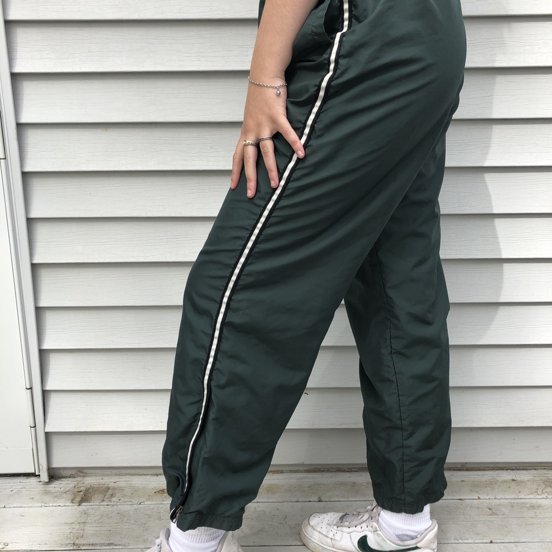 fashion design cheapest sale best supplier dark green track pants / black and white thin stripe... - Depop