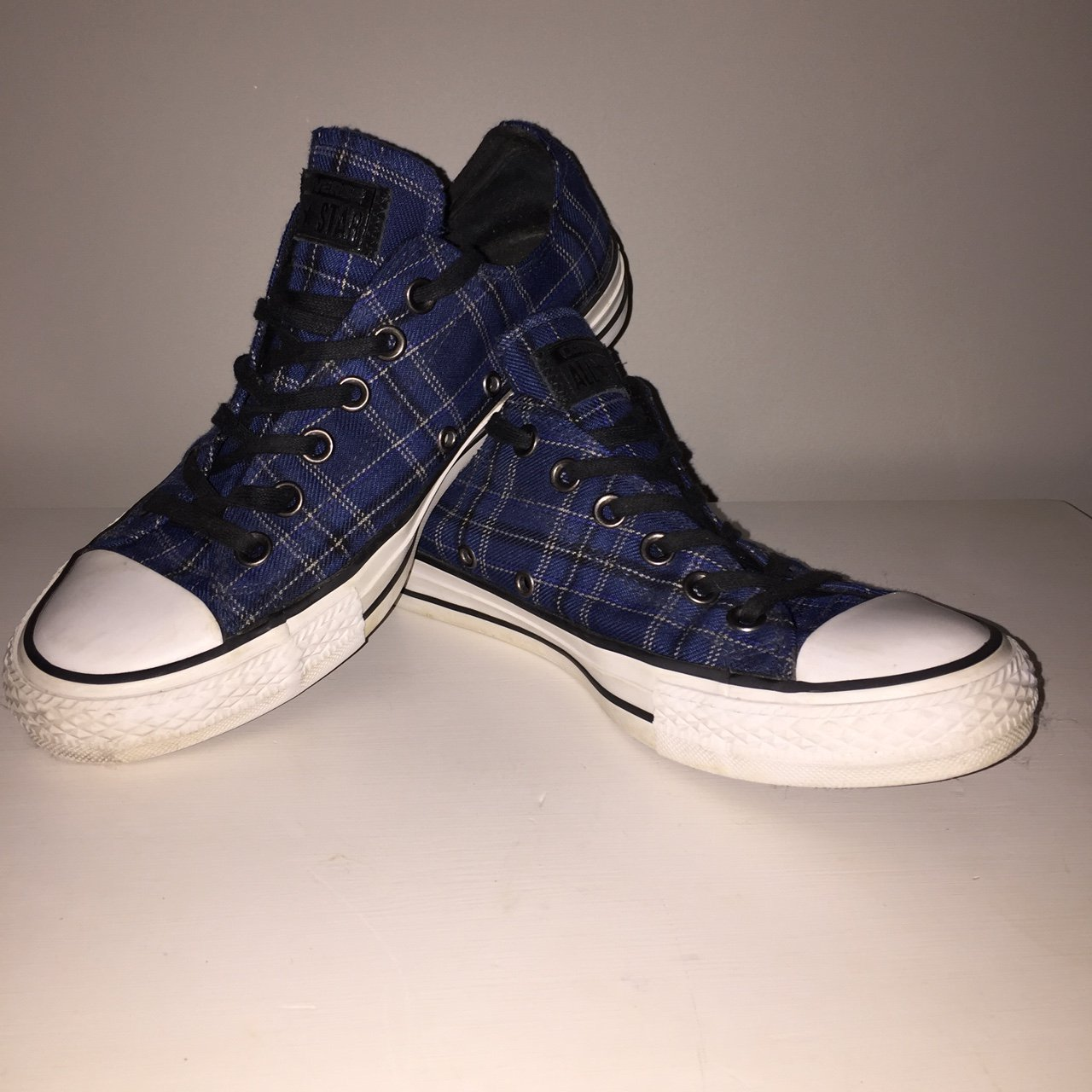 a389601a095 Blue and black chequered REAL converse shoe