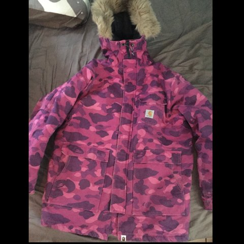 d7761c34898c Bape a bathing ape X carhartt rare purple camo dead stock or - Depop
