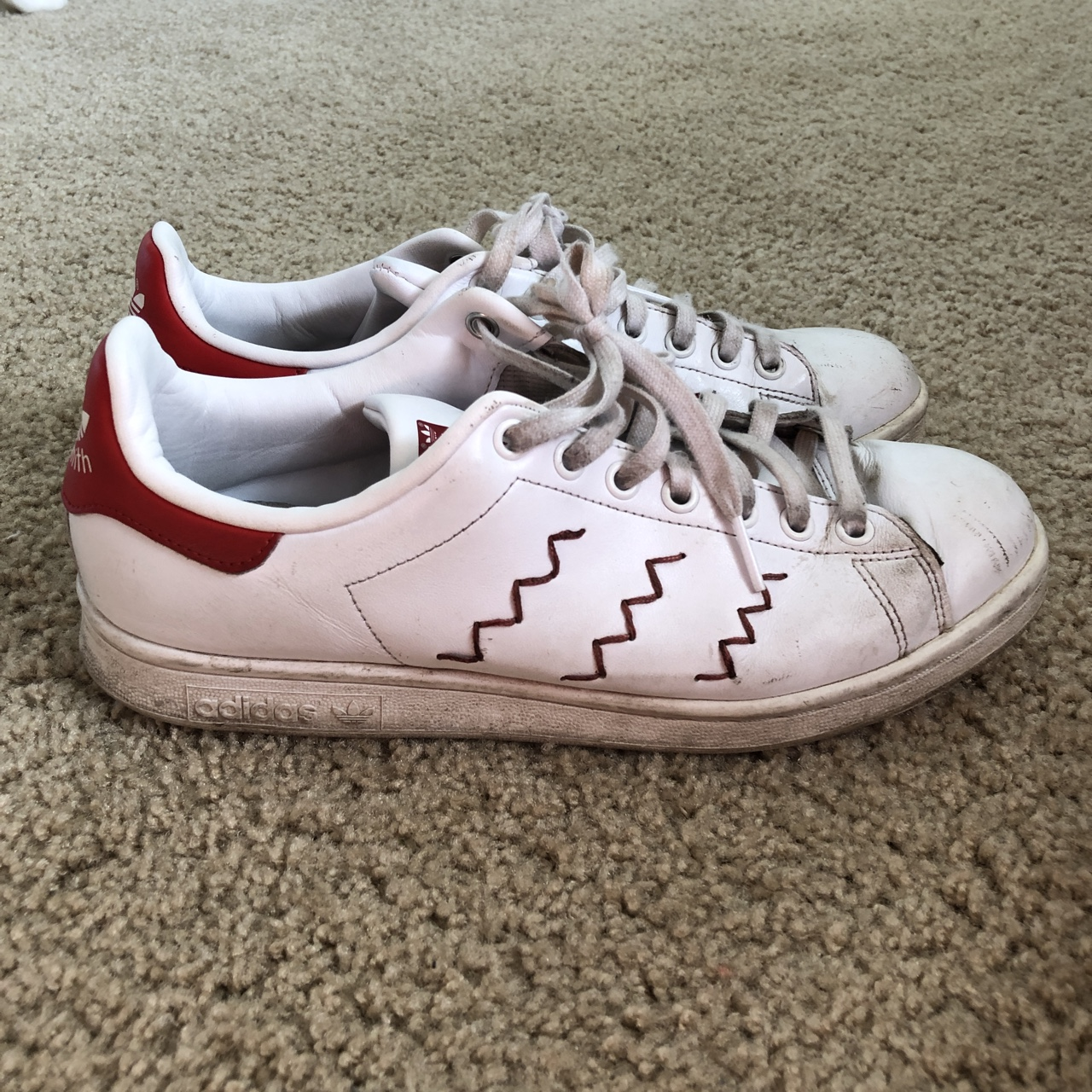 timeless design f67c4 c05a5 Adidas Stan Smith Zig Zag Red Sneakers Says size 9... - Depop