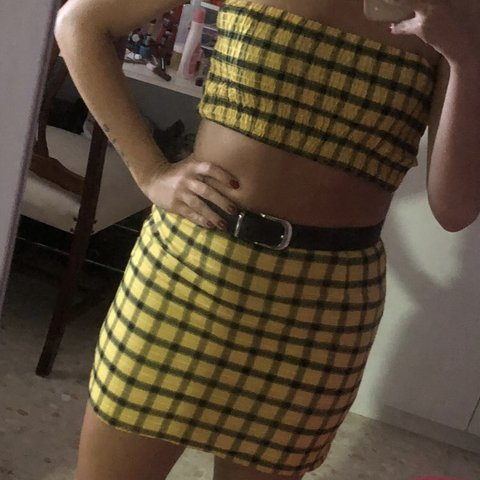 ecf1565283  momsenx. 8 months ago. United Kingdom. Yellow tartan check two piece bandeau  Crop Top and high waisted skirt.