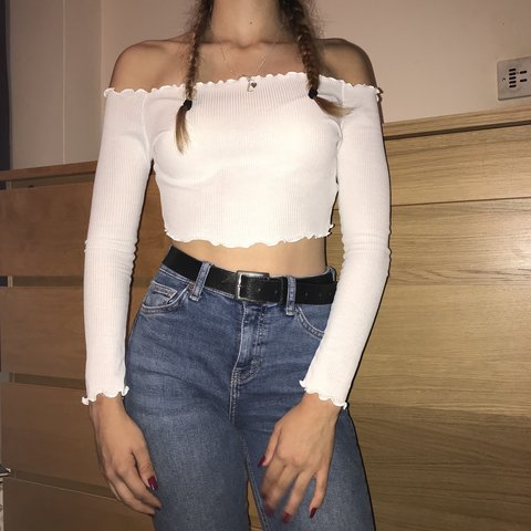 817ba172b9a7c Pretty Little Thing white long sleeved off the shoulder top - Depop