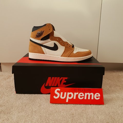 """a30a9a7a4d3 @teezy95. 7 months ago. Manchester, Greater Manchester, United Kingdom. Nike  Air Jordan 1 Retro High OG """"Rookie of the Year"""" Golden ..."""