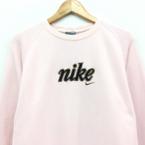 c2f112852591 Nike sweatshirt 👅 Baby pink with Cortez style embroidered t - Depop