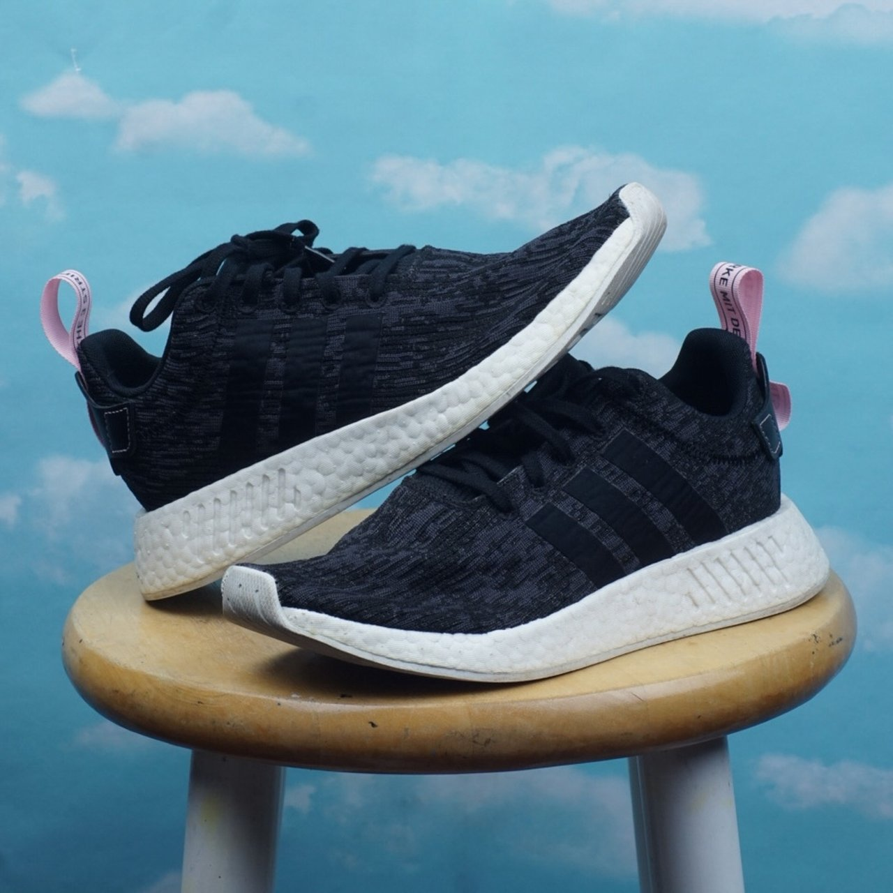 9cc019ff9 Adidas NMD r2 Core Black Pink sneakers ! Super dope classic - Depop