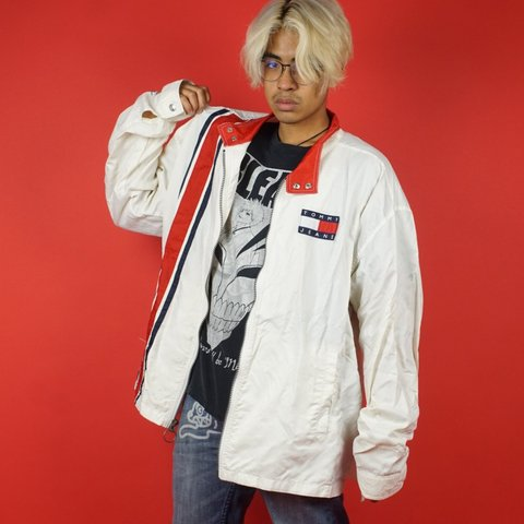 fe461080 @geebclothes. 21 days ago. Tampa, Florida, US. Vintage 90s Tommy Hilfiger  Jeans racing windbreaker jacket! Awesome colorblock stripes and primary red  ...