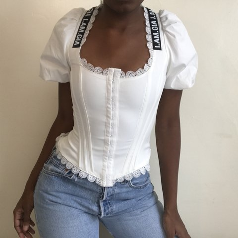 391154a6ada4e I AM GIA chelsey corset TOP IN White SIZE EXTRA SMALL i - Depop