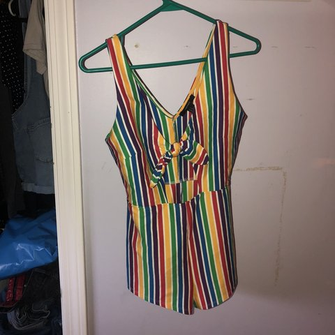 e383973d6f78 The cutest rainbow striped romper from Forever 21. I was to - Depop