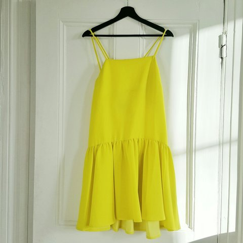 2e2dc4ab084 Reserved) Canary-yellow dress from ASOS with cross-strap in - Depop