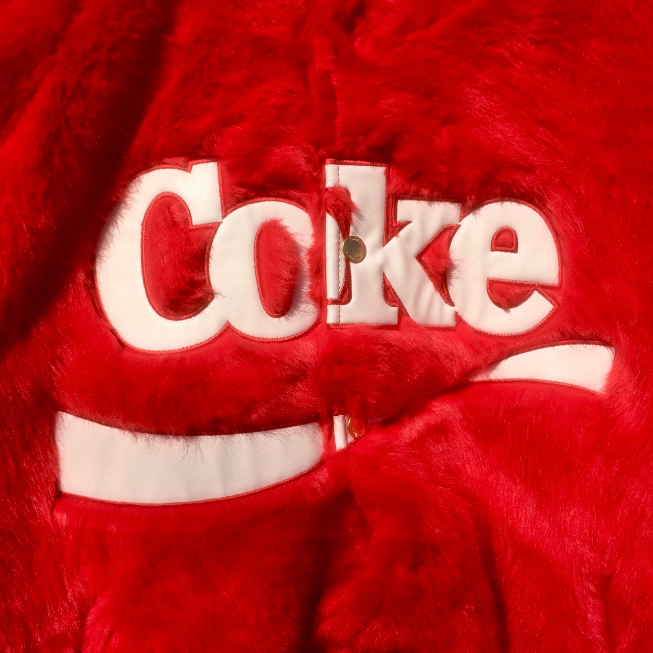 JOYRICH x Coca-Cola Unisex Fake Fur Jacket / very    - Depop