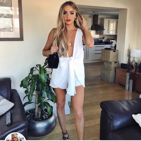 19a871ed79 White playsuit low cut tie sabo skirt size xs Bought off her - Depop