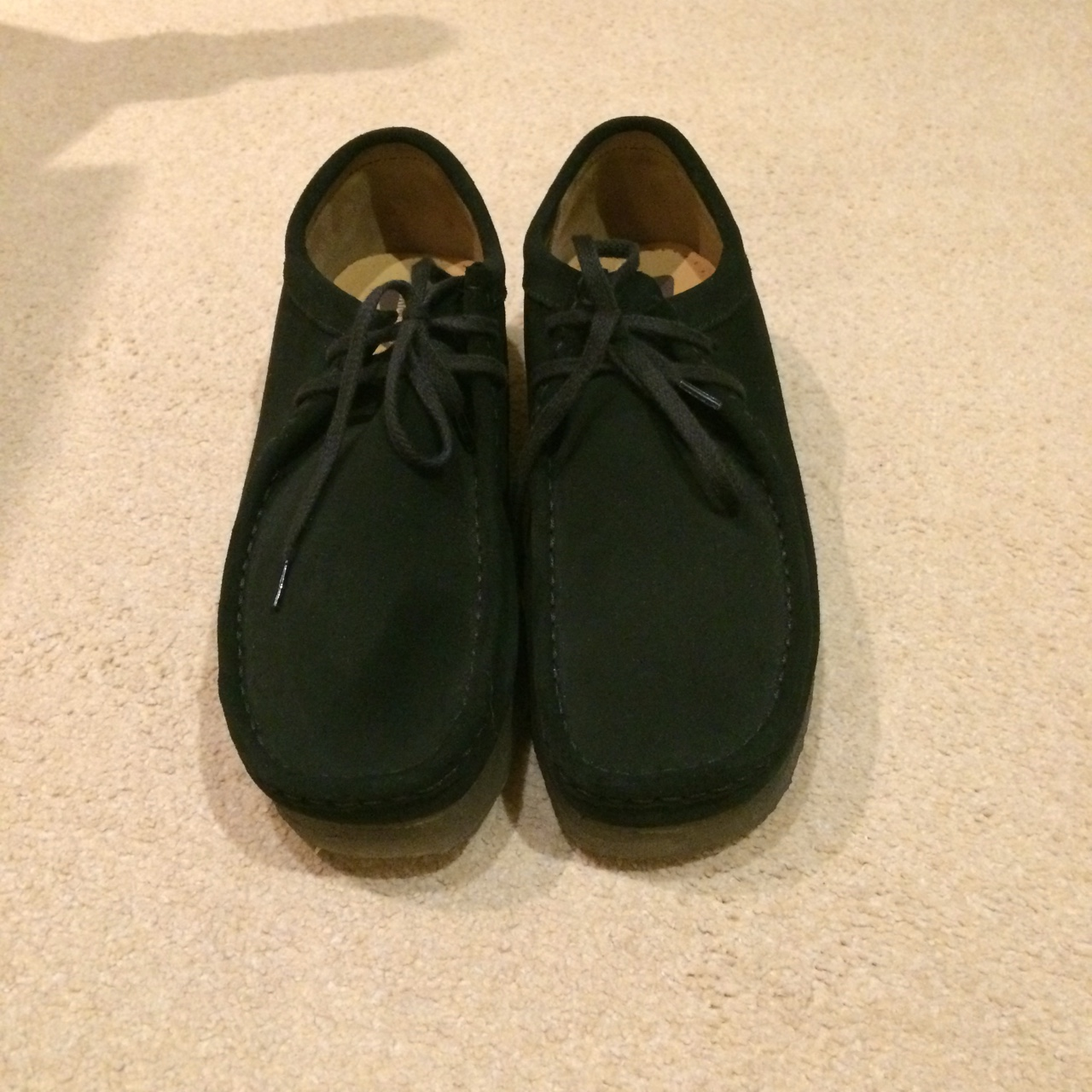 Clarks wallabees, black with gum sole