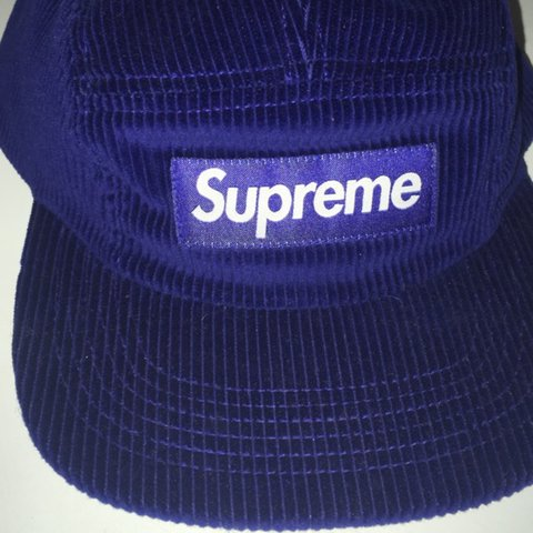 0f4daf3f423 Navy blue Supreme hat corduroy 5 panel for sale SIZE  ONE 70 - Depop