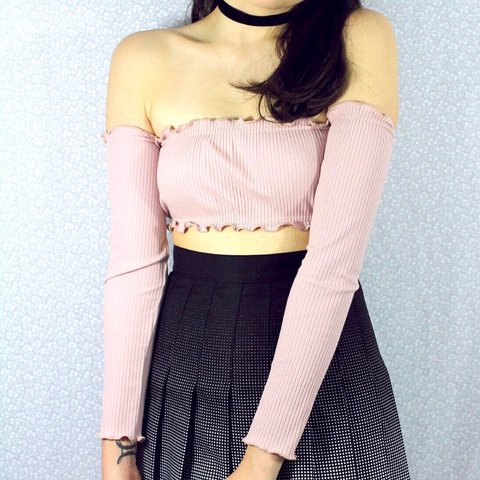 502190c6024d2 Pink ribbed long sleeve bardot crop top with ruffle hem. fit - Depop