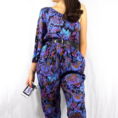 ae63f36c249 @resetbynicola. 11 months ago. London, United Kingdom. Vintage retro blue  purple victorian style floral patterned asymmetric off the shoulder jumpsuit .