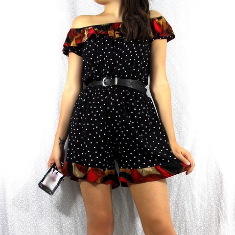 f7034ea4f4a Vintage Loving Youth reworked polka dot patterned bardot and - Depop