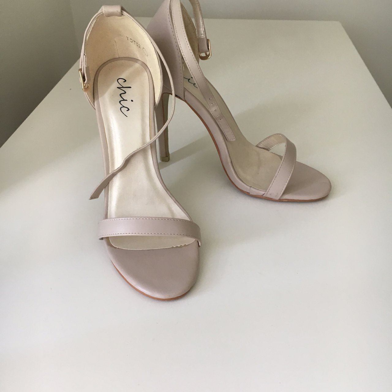 c7a3d86733e0 Nude heels size 5. Have been worn once or twice but in good - Depop