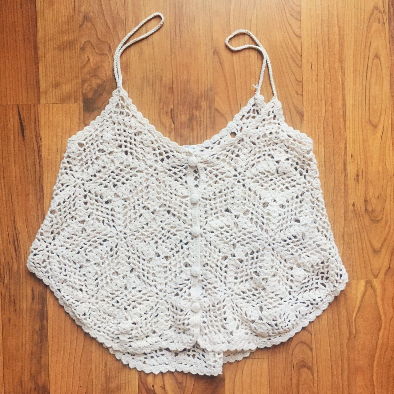 Light Cream Colored Forever 21 Crochet Top Forever21 Top Depop