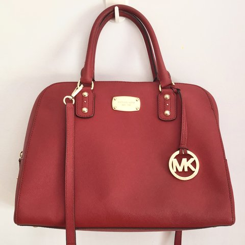 bd180cffd619 Selling an authentic Michael KORS red saffiano leather dome - Depop