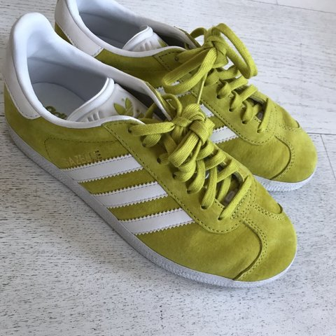 f764612bd85c Adidas gazelle unity trainers white lime suede sneakers as - Depop