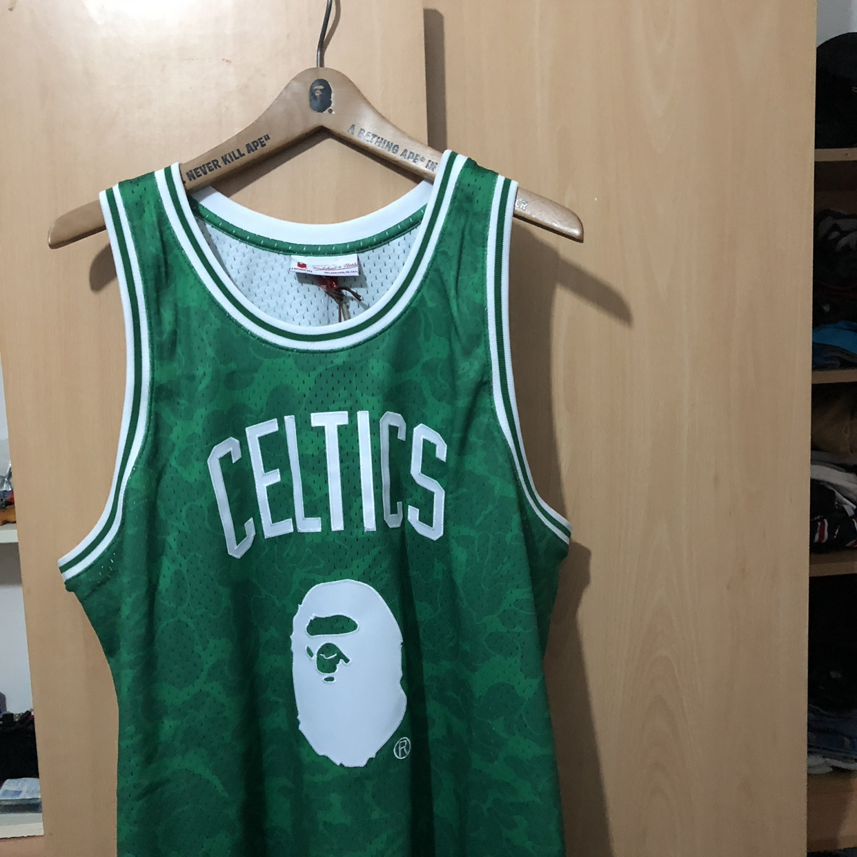 best website cbabb 69a73 PRICE DROP!! Bape x NBA boston celtics baskeball... - Depop