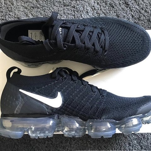 854905bd8f43 Nike flyknit vapormax Black Size 6.5 worn only handful of - Depop