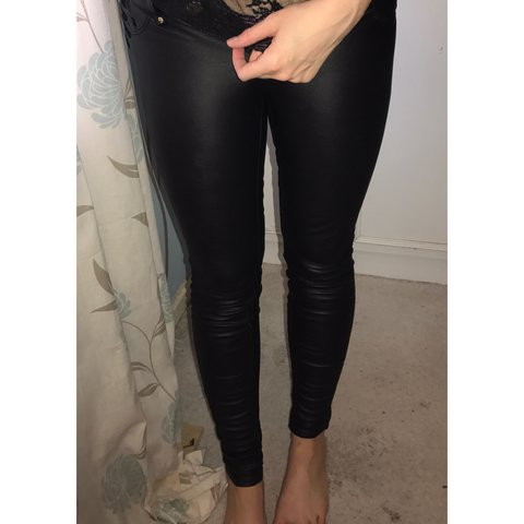 40a256140de8fa H&M Black Leather High Waist Skinny Jeans. Size 8. Will Fit - Depop