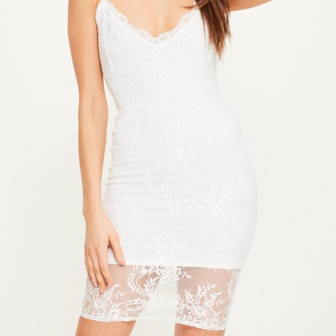 fd18f0ef4a3e @bexxmac. 7 days ago. Aylesbury, United Kingdom. White strappy lace bodycon  dress from missguided. BRAND NEW WITH TAGS ...