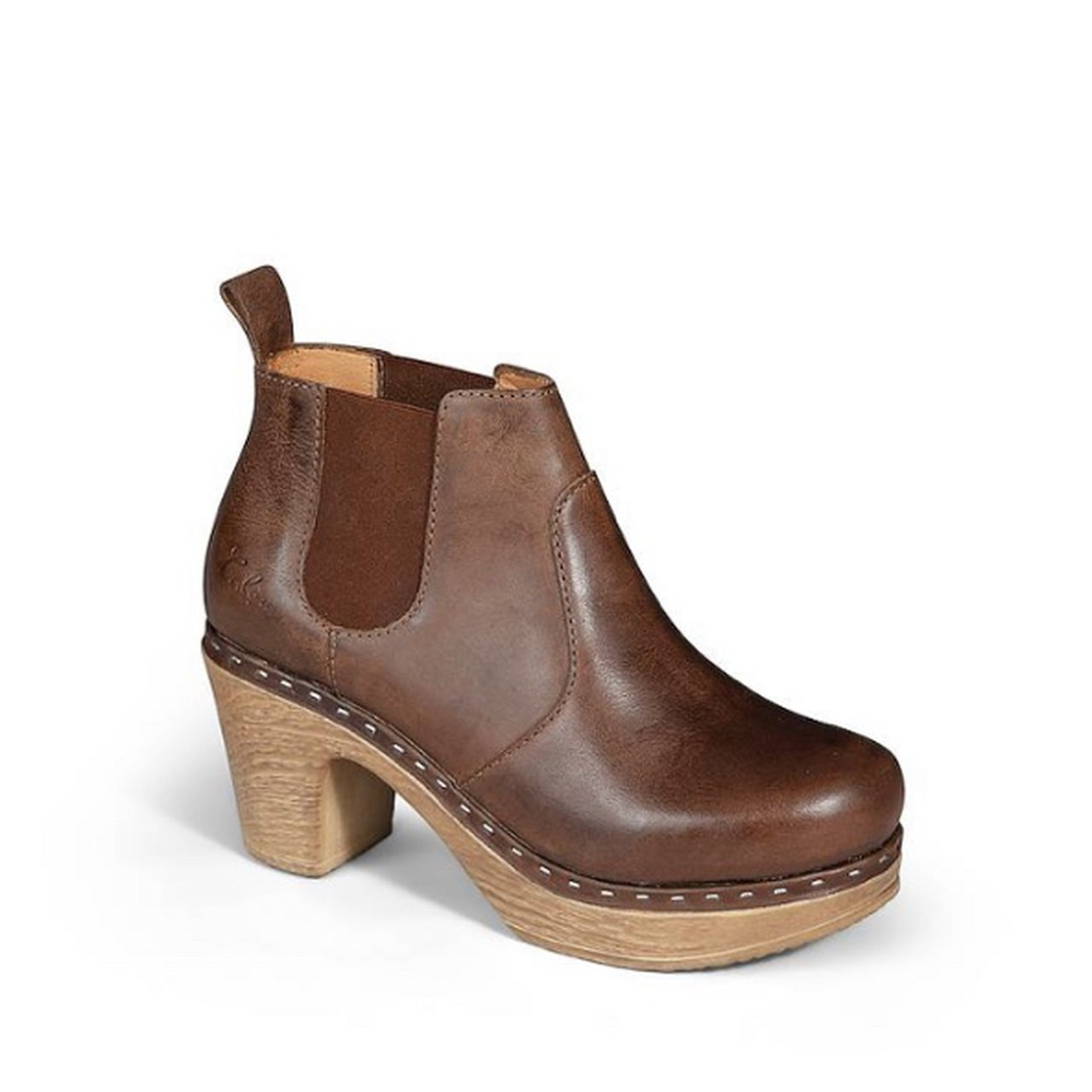 Leather Swedish Calou Clog Boots for Women Brown Leather Ankle Boots High Heel Doris Vintage Brown