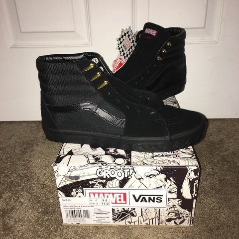 b54937be0d VANS X Marvel Black Panther Sk8 Hi Mens 9.5 Shoes are brand - Depop