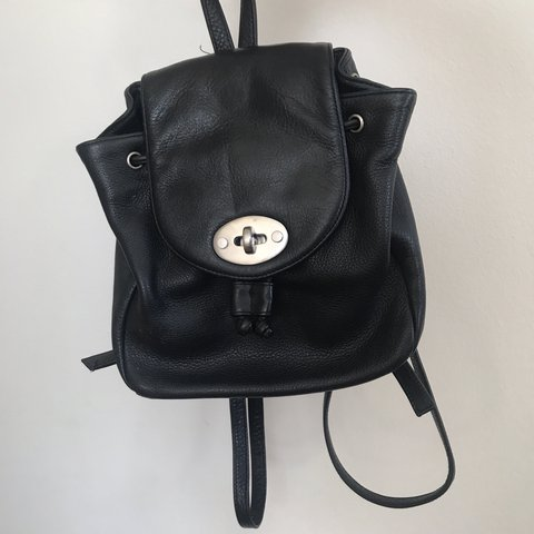 Little black leather backpack by Eddie Bauer !!🎒❤ perfect - Depop 1bf68c7c22486