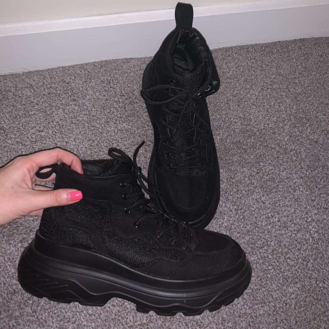 Missguided Black Chunky Trainer Boots