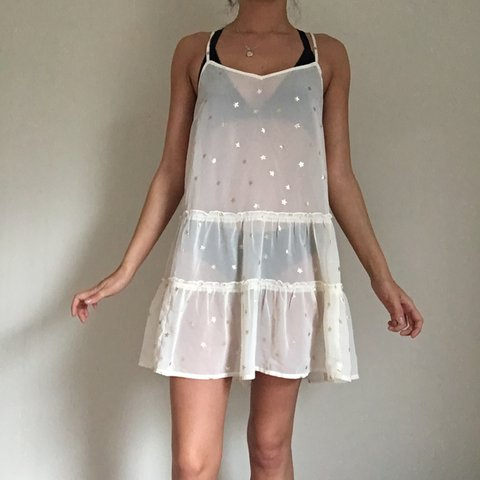5e4207b42491 @sydneyow. last year. Savannah, United States. sheer white slip dress from  Aerie. perfect for layering. ...