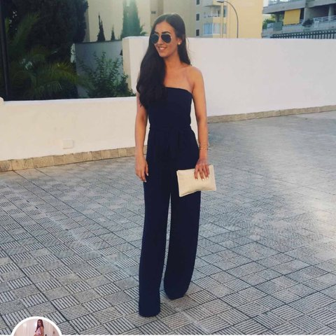 9ed78de813a STILL SELLING. Zara navy blue jumpsuit    strapless    worn - Depop