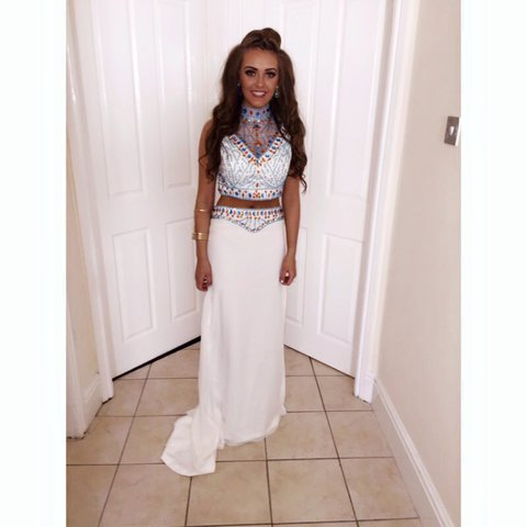 e2bee53186 MY PROM DRESS WORN ONCE TWO PIECE SET EMBELLISHED ORANGE AND - Depop