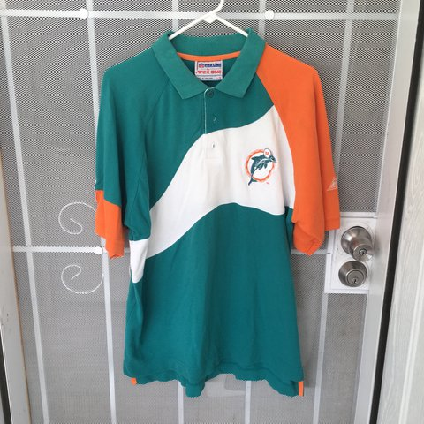 09563085c Pro Line Apex One Miami Dolphins Color Block Polo Shirt     - Depop