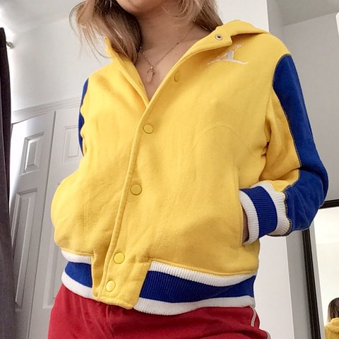 7ed757651e1e6a Vintage yellow and blue Jordan button up hoodie! this piece - Depop
