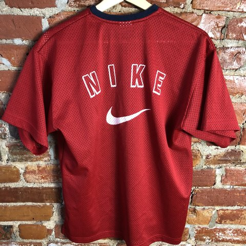 b30ed5ece8648 Youth Medium sized white tag vintage spellout Nike mesh on a - Depop