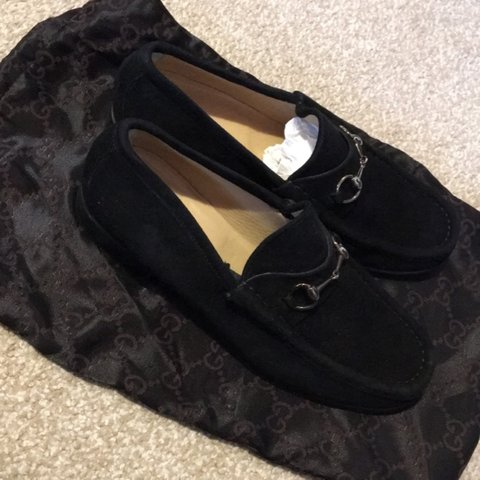 Gucci Black Suede Loafers Size 8b With A Gold Buckle With In Depop