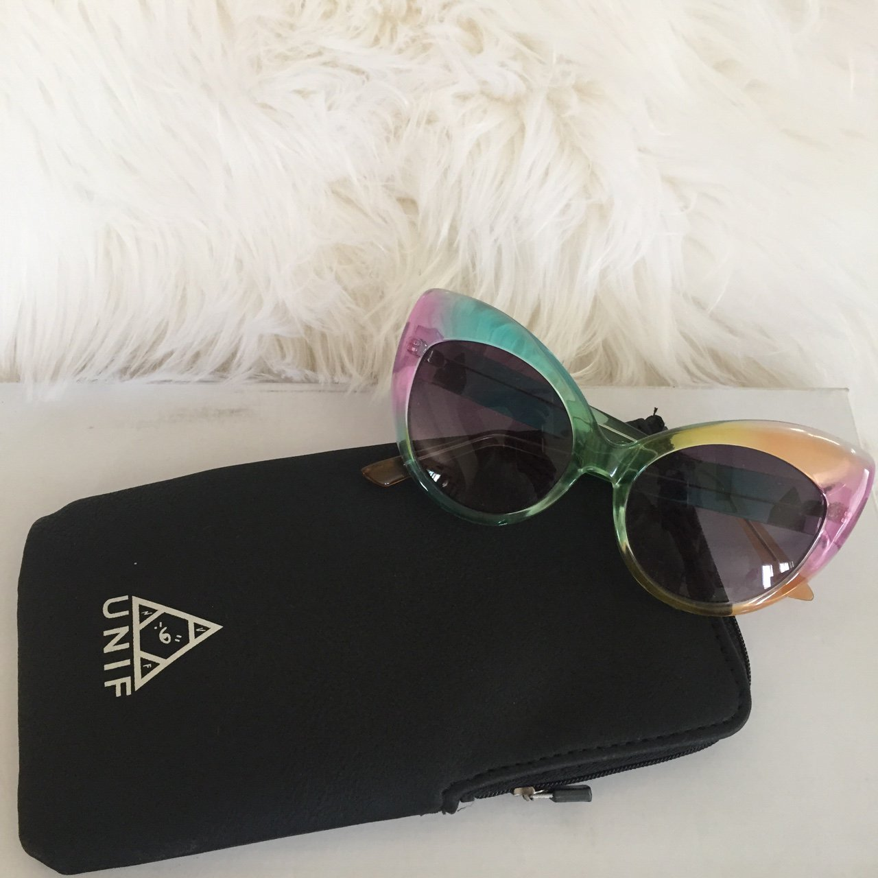 b47edf85c2d UNIF Rainbow The Moody s Cat Eye Sumglasses with case. been - Depop
