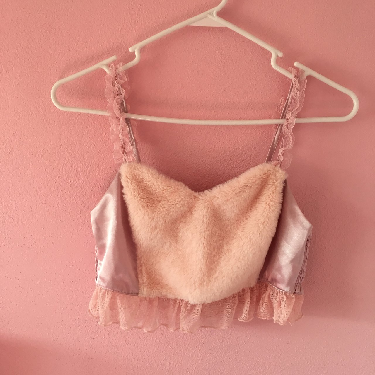 7c72ab56883bb Spinns fur and lace bralette. It s one size but the back is - Depop