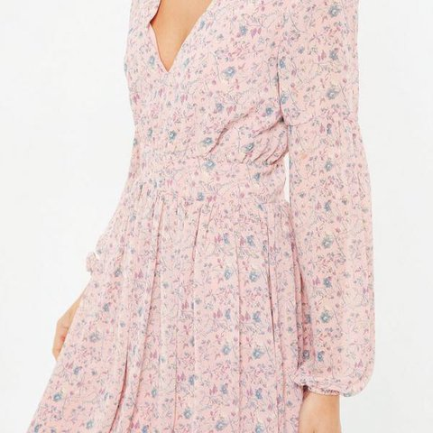 Pink floral long sleeve skater dress from Missguided. Brand - Depop 389f5ac0a
