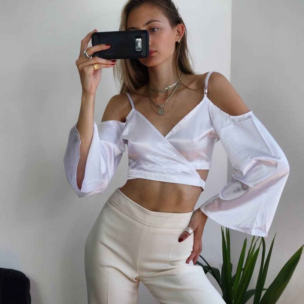 f0c704f63159b9 Beautiful white satin wrap crop top with low tie back. Size - Depop