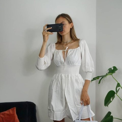 dcbf85de01a6 Favourite find. Beautiful white cotton gypsy dress 😍 waist - Depop