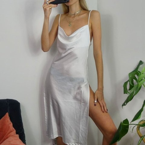 0573fa128c1 Stunning white satin cowl neck slip dress with two side Size - Depop