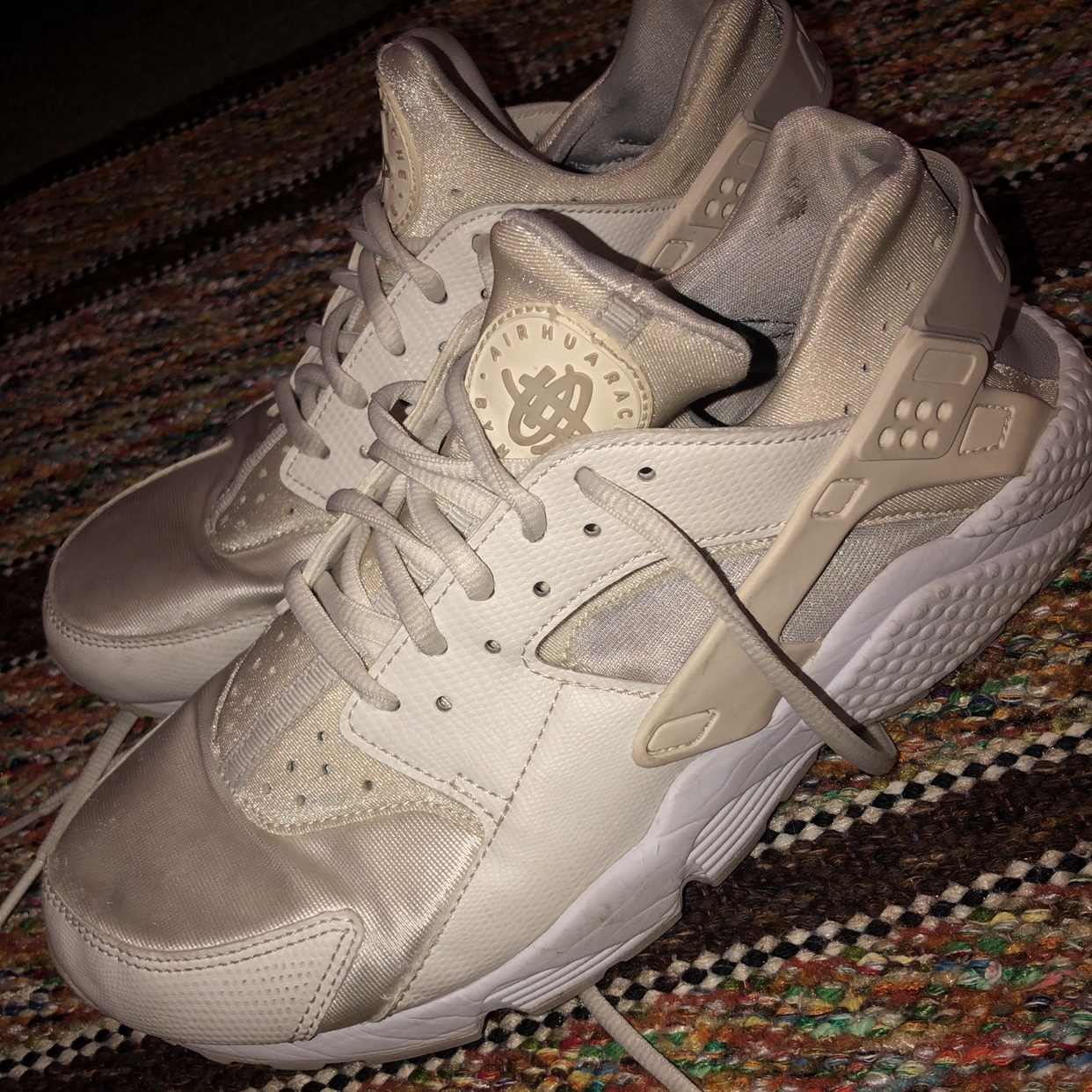 white nike huarache's! i bought these second hand,...